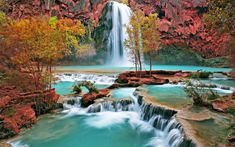 Download wallpapers Havasu Falls, waterfalls, cliffs, american landmarks, Arizona, USA, America