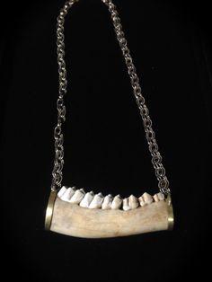 Jawbone Fashion Necklace Designer Statement PIece by SavannaCrow, $112.00