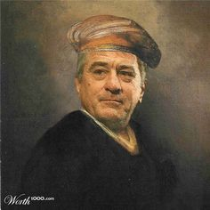 """Robert De Niro.  Artists from creative website worth1000.com have tried """"to catch the moment"""" and show us famous paintings but with modern celebrities in the main roles. Some of them look very natural in their new roles."""