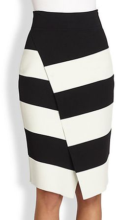 A.L.C. Campbell Striped Wrap-Effect Skirt $395.00 $177.75