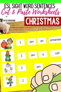 Looking for some interactive ways you can get your ESL Newcomer students practising their sight words AND sentence structure this Christmas? This file includes over 40 basic sentences for them to ready, cut and paste along with the picture for further understanding. A perfect way to help ESL kids understand and work on their sentence writing skills. Sight Word Sentences, Sight Word Worksheets, Sight Word Games, Sight Words, Kindergarten Classroom, Kindergarten Activities, English Resources, Sentence Structure, Sentence Writing