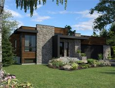 This lovely Contemporary style home with Bungalow influences (House Plan has 1277 square feet of living space. The 1 story floor plan includes 2 bedrooms. Modern House Plans, Modern House Design, Stilt House Plans, Modern Exterior, Exterior Design, Style At Home, Chalet Modern, House Plans One Story, Split Level House Plans