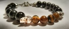 Bracelet pour homme, oeil du tigre-onyx de la boutique atelierensorcele sur Etsy