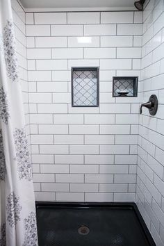 Bathroom Remodel Discover Merola Tile Metro Lantern Glossy White in. x 6 mm Porcelain Mosaic Tile-FDXMLGW - The Home Depot White Subway Tile Bathroom, Subway Tile Showers, Bathroom Tile Showers, Tiled Showers, Upstairs Bathrooms, Master Bathroom, Master Shower Tile, Remodled Bathrooms, Shower Niche