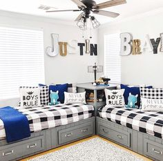22 Beautiful Shared Room For Kids Ideas Below are some shared rooms ideas for kids to inspire your children's room decor. Shared Boys Rooms, Shared Bedrooms, Awesome Bedrooms, Ideas For Boys Bedrooms, Little Boy Bedroom Ideas, Boy Bedrooms, Twin Bedroom Ideas, Boys Room Ideas, Room For Two Kids