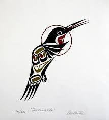 "indigenousdialogues: "" Hummingbird (by The Blackbird) "" Arte Inuit, Inuit Art, Native American Symbols, Native American Design, Haida Tattoo, Sketch Manga, Indian Artwork, Hummingbird Art, Haida Art"
