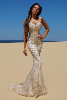 Tinaholy Couture T1835 Gold Beaded Mesh Mermaid Formal Gown Dress Tinaholy Couture One Honey Boutique AfterPay ZipPay OxiPay Sezzle Free Shipping