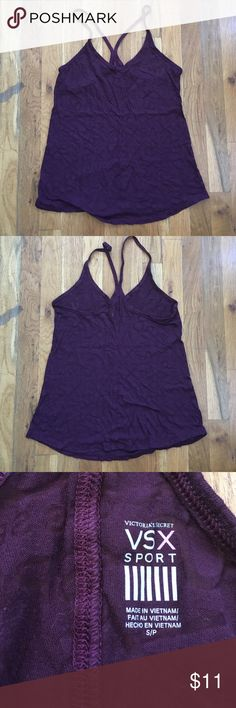 VSX Sheer Tank Top Sheer purple/burgundy workout tank top by VSX from Victoria's Secret. Racerback fit with skinny straps. All over print of VSX and Victoria's Secret Sport. Super cute for hot days, hot yoga, or your routine gym workout. Pre loved, good condition. Victoria's Secret Tops Tank Tops