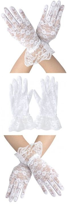 Ashopz Womens Party Sexy Short Lace Wedding Dress Glove,White, White 8.3 inch, One Size