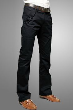 $11.48 Casual Style Solid Color Zipper Fly Pocket Embellished Straight Leg Cotton Long Pants For Men