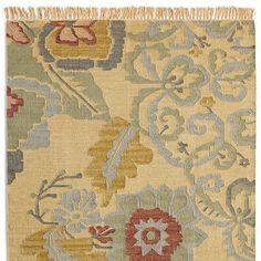 Passion Flower Kilim Rug[Picked from SUNDANCE] Our 'Passion Flower' kilim rug boasts a favorite Sundance pattern, inspired by Turkish designs, in an antique-washed finish. Fringed ends.