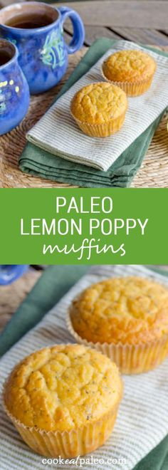 Lemon poppy paleo muffins are quick and easy gluten-free recipe. Just add everything to the food processor — the batter is ready in about five minutes. {gluten-free, grain-free, paleo} ~ cookeatpaleo.com
