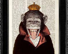 Monkey Art Print  Monkey King  ORIGINAL ARTWORK hand by popcapopca
