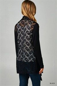 Open front, knit cardigan featuring an all-lace back panel. An unexpected twist to the classic cardigan! Lightweight. Unlined. Sheer back. 95%RAYON 5%SPANDEX $39.00