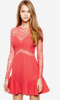 0bc04d506d Made from a stretch poly fabric. Sweetheart style neckline. Semi-sheer lace  sleeves