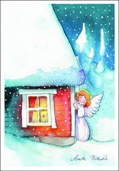 Anita Polkutie, Finland Christmas Past, Christmas Angels, Christmas Greetings, Christmas Cards, Angel Pictures, Cool Pictures, Christmas Paintings, Watercolor Cards, Christmas Pictures
