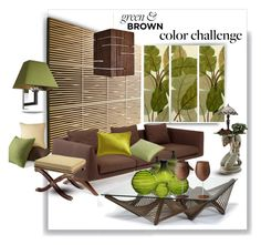 Color Challenge: Green and Brown by betiboop8 on Polyvore featuring interior, interiors, interior design, home, home decor, interior decorating, Matthew Hilton, Oggetti, Ethan Allen and Cerno