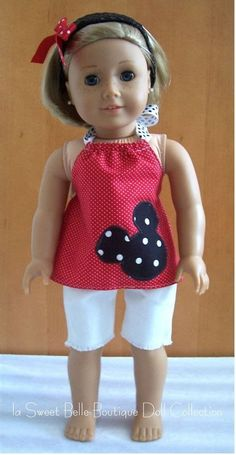 Mickey Mouse outfit for American Girl Doll American Girl Outfits, Ropa American Girl, American Girl Crafts, American Doll Clothes, American Dolls, Sewing Doll Clothes, Sewing Dolls, Girl Doll Clothes, Doll Clothes Patterns
