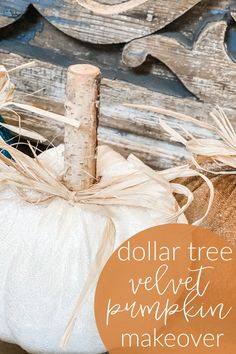 """Check out this really cute and easy dollar tree velvet pumpkin makeover!   I shared my Dollar Tree haul on a Facebook live the other day, and everyone LOVED the pumpkins. I could not wait to make them over just a little bit so they had a little more """"real"""" and """"cutesy"""" feel to them. This is one SUPER EASY project, but the end result is going to blow your socks off! #pumpkincraft #pumpkin #dollartree Diy Home Projects Easy, Craft Projects For Kids, Easy Diy Crafts, Fall Crafts, Holiday Crafts, Craft Ideas, Creative Crafts, Holiday Fun, Project Ideas"""
