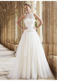 Buy Stunning Tulle Halter Neckline A-line Wedding Dress With Handmade Flowers & Beaded for only $129.99 at www.ohDresses.com.
