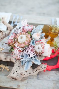 A desert-themed centerpiece for a bohemian night