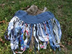 Tattered Like You Favorite Old Pair of Blue Jeans Fairy Skirt / Crochet Over Skirt with Fabric Fringe and Corset Lace up Front.   Homemade coolness!