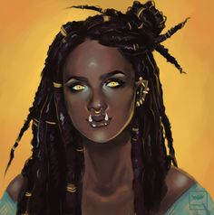f Half Orc Sorcerer portrait for of their Orc Shadowrun character Sadi med token Dungeons And Dragons Characters, Dnd Characters, Fantasy Characters, Female Characters, Black Girl Art, Black Women Art, Art Girl, Fantasy Character Design, Character Design Inspiration