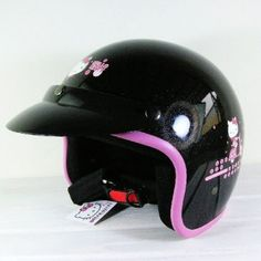 Hello Kitty on Bike Motorcycle 3/4 Helmet RETRO Black Sanrio