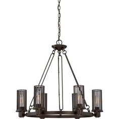 Simple and unadorned, the Belgrade Collection is a perfectly understated design. You can catch a glimpse of the vintage filament bulbs through the grill-like styling of the barred shade. The western bronze finish on the open-strap arms and fixture body coordinates well with many existing finishes.