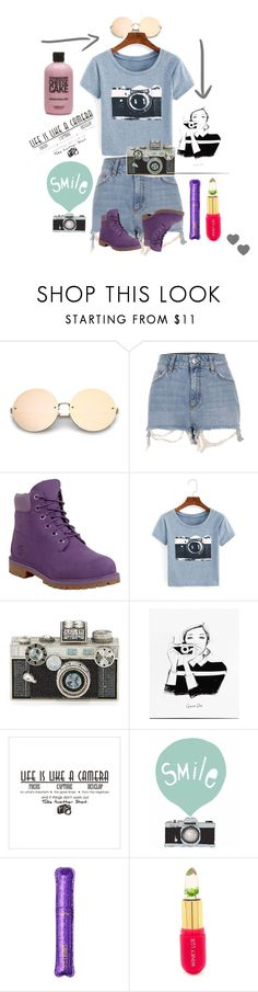 """""""Cam Life."""" by xpandaprincessx ❤ liked on Polyvore featuring River Island, Timberland, Judith Leiber, Seventy Tree, tarte, Winky Lux and camera"""