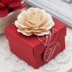 Red Wedding Favors Candy Box with Ivory Flowers  by sweetywedding, $1.99