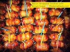 Yummy party appetizer, Bacon wrapped smokies with brown sugar!