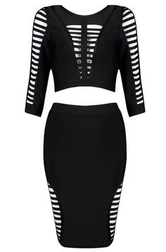 Buy Jenna Two-Piece Bandage Dress sexy, elegant, body-con fit, 3/4 sleeve, skirt length below knee, exposed top back zipper, skirt zipper in back, Material- 90% rayon /9% nylon/ 1% spandex Color - Bla