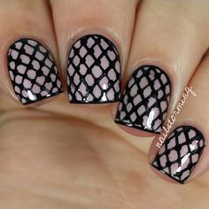 """Instagram media by nailstorming - Fishnet nails! - - Tutorial was already posted! - - Products used: Base: """"Makes Men Blush"""" OPI Black: acrylic paint Top coat: HK girl @glistenandglow1"""