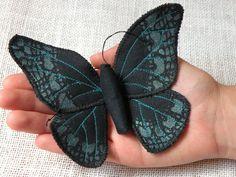Handmade Fabric Butterfly Moth Ornament Textile Lepidoptera Black. €20.00, via Etsy.
