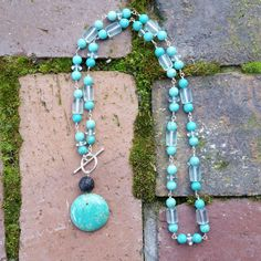 gemstone essential oil diffuser necklace-Sterling Silver wire wrap, Chalk Turquoise, Magnesite