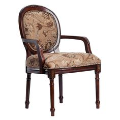 Put this elegant Benson chair near your living room coffee table to offer guests a comfortable place to sit. The wood on the chair has a cherry finish that perfectly complements the floral pattern on the oval back and seat cushions.