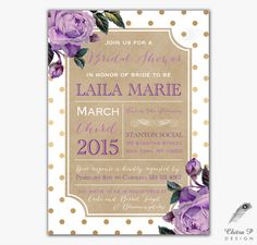 Purple & Kraft Bridal Shower Invitations - Printed, Baby Floral Gold Rustic Vintage English Rose Lavender Wedding White Floral French - #063 by chitrap on Etsy https://www.etsy.com/listing/214553003/purple-kraft-bridal-shower-invitations