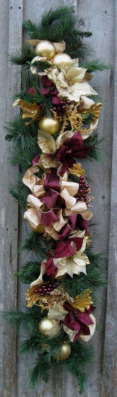 Christmas Garland, Holiday Swag, Elegant Décor, Designer Garland, Victorian Poinsettia Garland. $239.00, via Etsy.