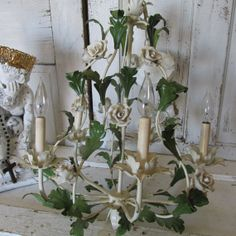Very large white porcelian roses green leaves by AnitaSperoDesign, $350.00