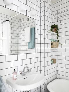 high contrast subway tile