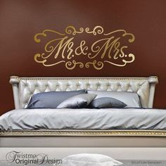 King and Queen Bedroom Decor, Romantic Bedroom Stickers, Gold Wall Decal Wedding Gift for Couple, Headboard Removable Stickers - Bedroom Decor Ideas Romantic Bedroom Decor, Cozy Bedroom, Home Decor Bedroom, Diy Home Decor, Wedding Bedroom, Romantic Bedding, Shabby Bedroom, Shabby Cottage, Bedroom Themes