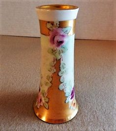 PL Limoges Hand Painted Hat Pin Holder w/Multi-Colored Rose Blossoms Motif