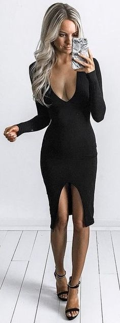 Long Sleeve Midi Black Dress Source