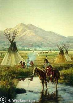 native american paintings Hubert Wackermann | Arapaho Camp༺ ♠ ༻*ŦƶȠ*༺ ♠ ༻