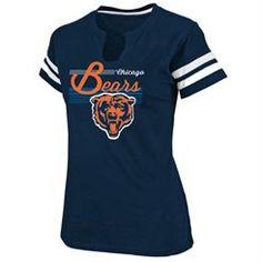 Chicago Bears Women's Navy Blue Slit Neck T-Shirt