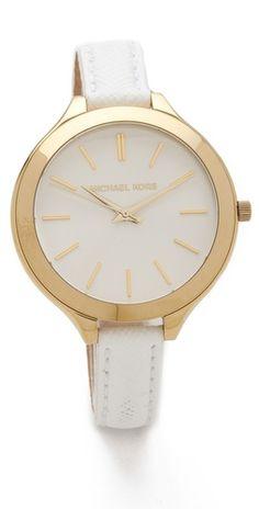 i think this needs to be my new watch. thin white leather \u0026 gold �� Mk  HandbagsHandbags ...
