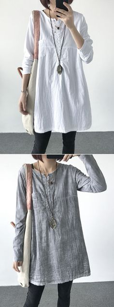 [Newchic Online Shopping] 49%OFF Women's Vintage Pure Color T-shirts with O-Neck and Long Sleeve #womens #womensfashion #womenswear #tshirtdesign #tshirt