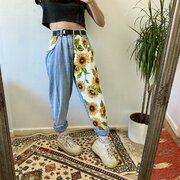 Hot Sale Sunflower Print, Sunflower Patch, Painted Clothes, Light Blue Jeans, Patched Jeans, High Waist Jeans, Jeans Fit, Jeans Style, Mom Jeans