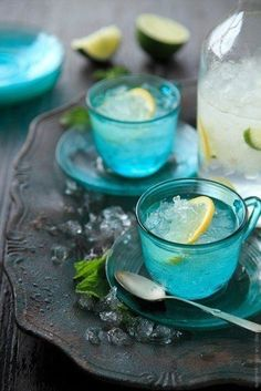 Aqua Glass Cups on a Grey Tray